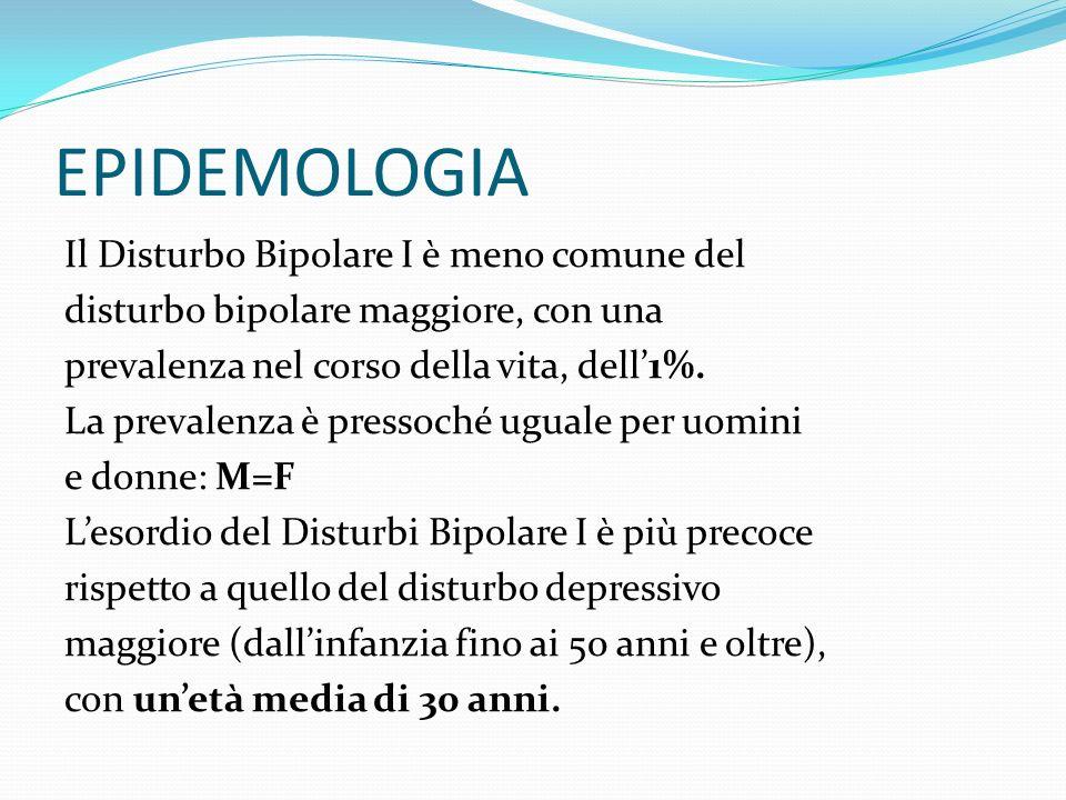 EPIDEMOLOGIA Il Disturbo Bipolare I è meno comune del disturbo bipolare maggiore, con una prevalenza nel corso della vita, dell1%. La prevalenza è pre