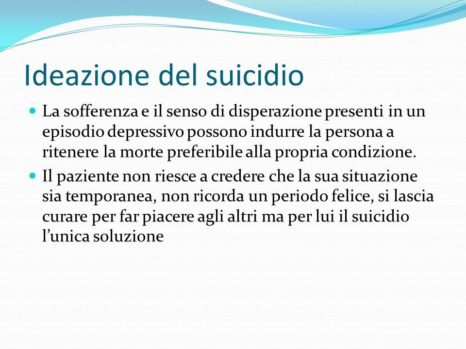 Ideazione del suicidio La sofferenza e il senso di disperazione presenti in un episodio depressivo possono indurre la persona a ritenere la morte pref