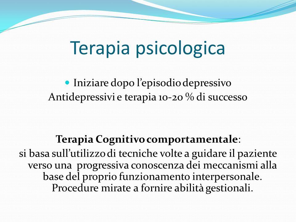 Terapia psicologica Iniziare dopo lepisodio depressivo Antidepressivi e terapia 10-20 % di successo Terapia Cognitivo comportamentale: si basa sulluti