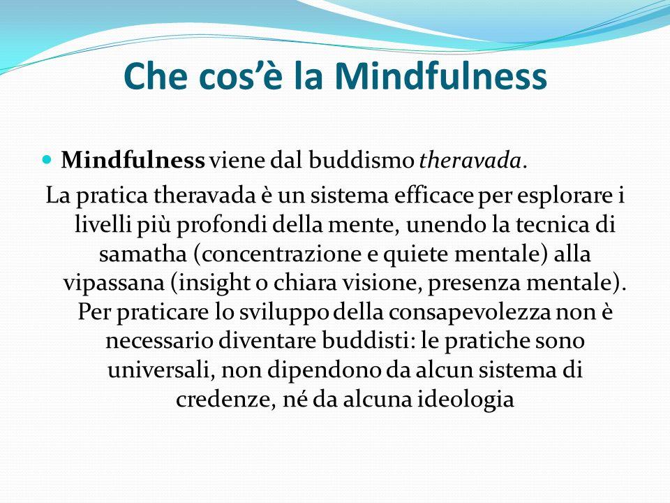Che cosè la Mindfulness Mindfulness viene dal buddismo theravada. La pratica theravada è un sistema efficace per esplorare i livelli più profondi dell