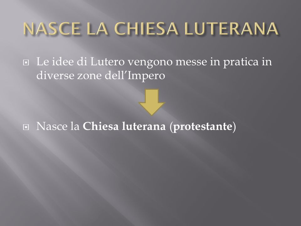 Le idee di Lutero vengono messe in pratica in diverse zone dellImpero Nasce la Chiesa luterana ( protestante )
