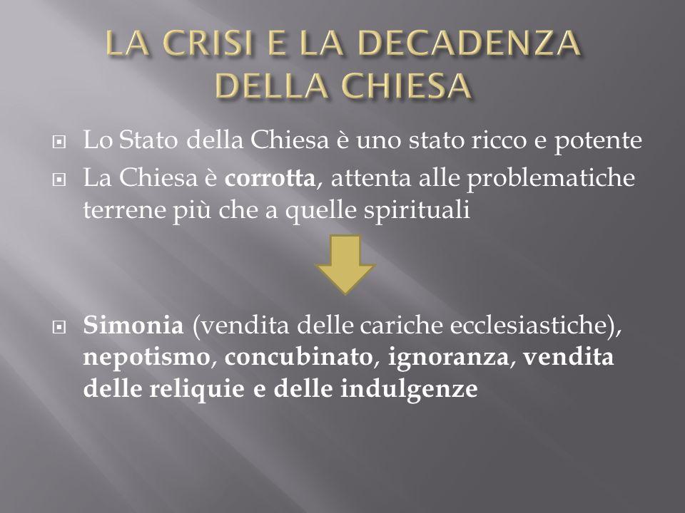 Lo Stato della Chiesa è uno stato ricco e potente La Chiesa è corrotta, attenta alle problematiche terrene più che a quelle spirituali Simonia (vendit