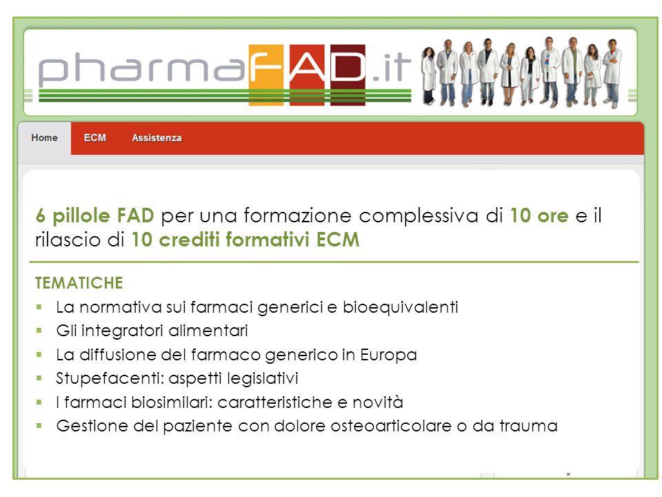 6 pillole FAD per una formazione complessiva di 10 ore e il rilascio di 10 crediti formativi ECM TEMATICHE La normativa sui farmaci generici e bioequi