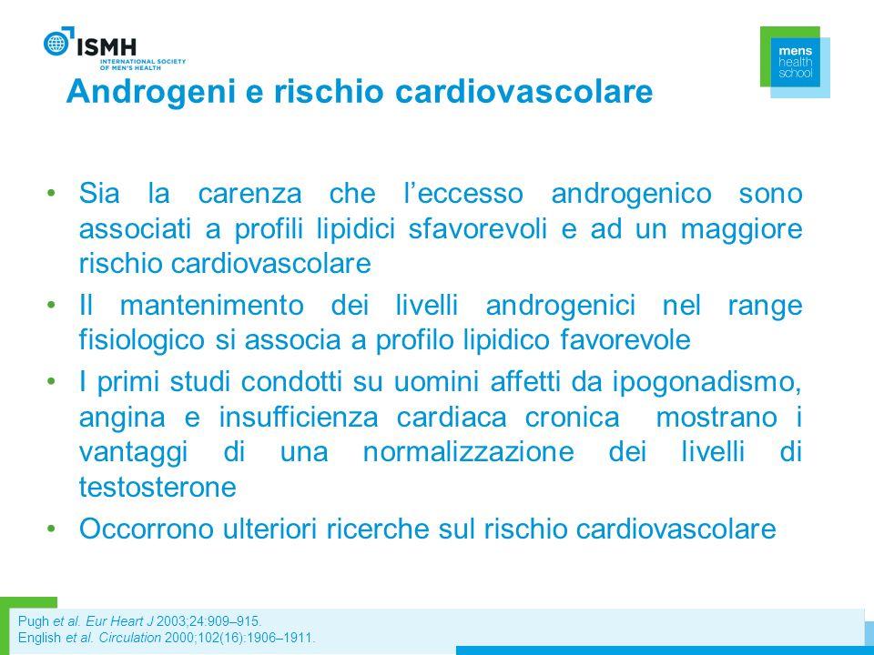 Androgeni e rischio cardiovascolare Sia la carenza che leccesso androgenico sono associati a profili lipidici sfavorevoli e ad un maggiore rischio car
