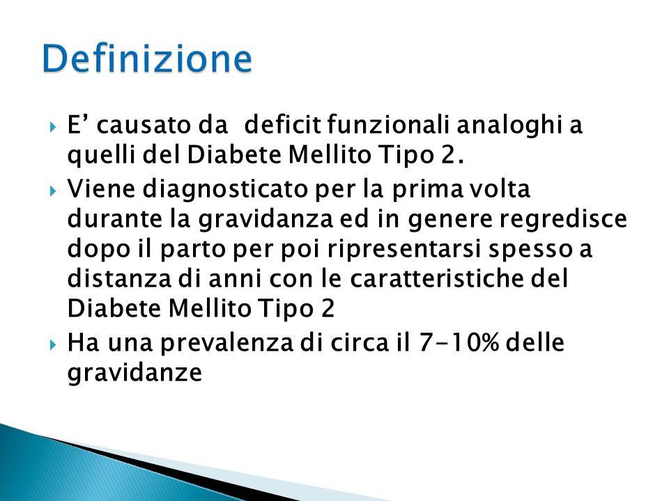 E causato da deficit funzionali analoghi a quelli del Diabete Mellito Tipo 2. Viene diagnosticato per la prima volta durante la gravidanza ed in gener