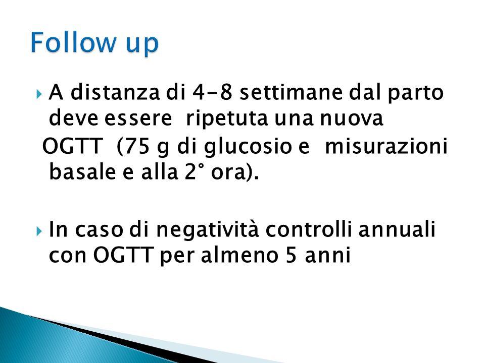 A distanza di 4-8 settimane dal parto deve essere ripetuta una nuova OGTT (75 g di glucosio e misurazioni basale e alla 2° ora). In caso di negatività