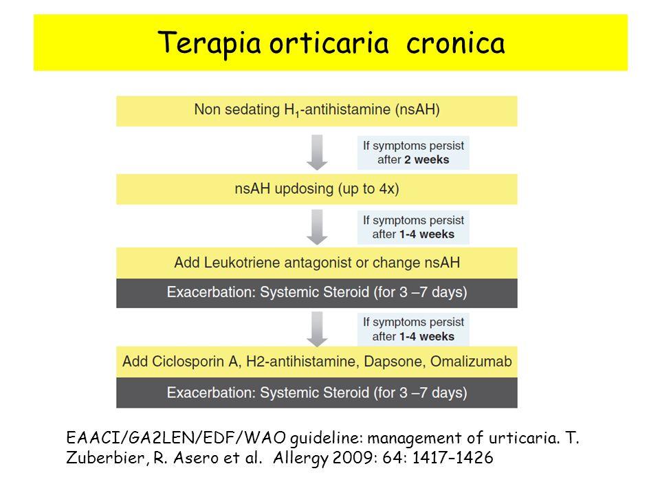 Terapia orticaria cronica EAACI/GA2LEN/EDF/WAO guideline: management of urticaria. T. Zuberbier, R. Asero et al. Allergy 2009: 64: 1417–1426