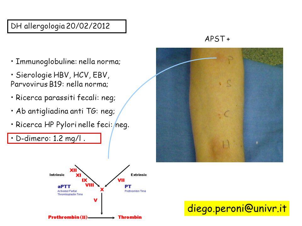 DH allergologia 20/02/2012 APST + Immunoglobuline: nella norma; Sierologie HBV, HCV, EBV, Parvovirus B19: nella norma; Ricerca parassiti fecali: neg;
