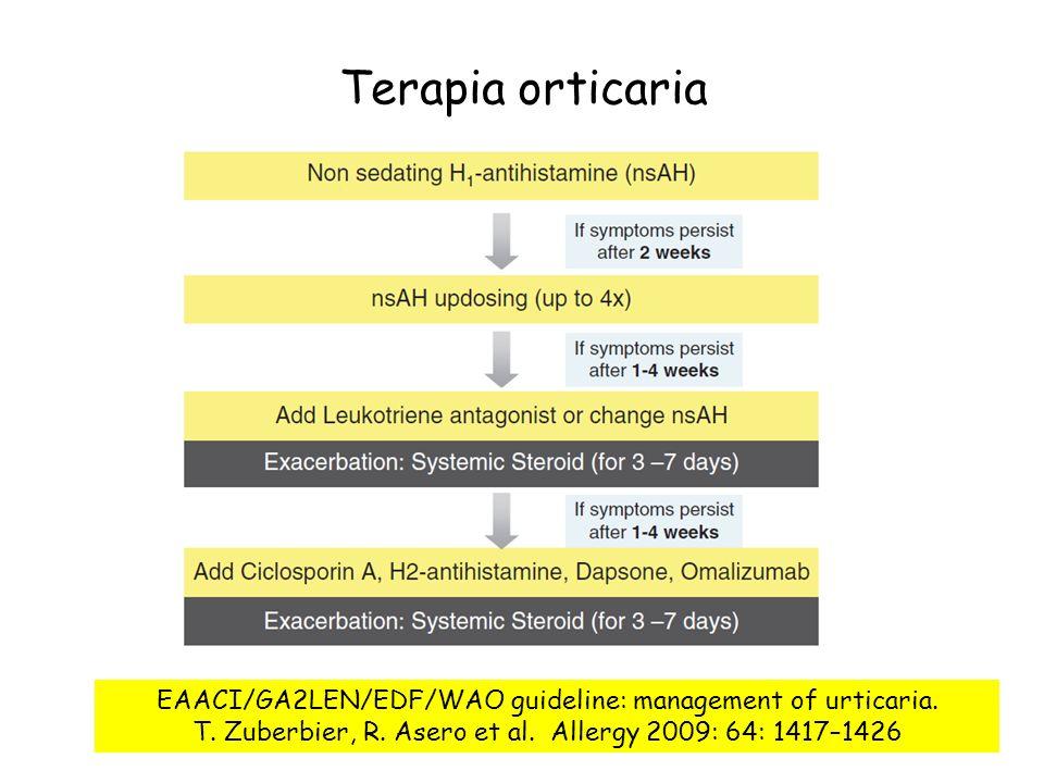 Terapia orticaria EAACI/GA2LEN/EDF/WAO guideline: management of urticaria. T. Zuberbier, R. Asero et al. Allergy 2009: 64: 1417–1426