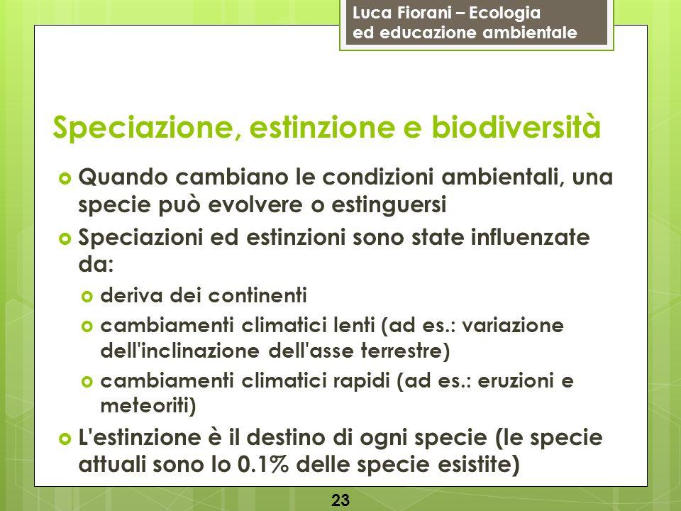Luca Fiorani – Ecologia ed educazione ambientale Speciazione, estinzione e biodiversità 23 Quando cambiano le condizioni ambientali, una specie può ev