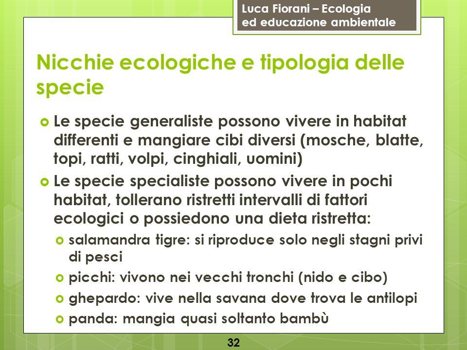 Luca Fiorani – Ecologia ed educazione ambientale Nicchie ecologiche e tipologia delle specie 32 Le specie generaliste possono vivere in habitat differ