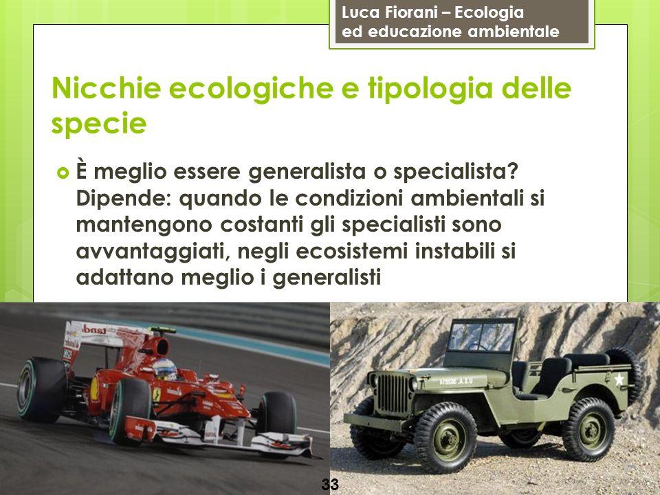 Luca Fiorani – Ecologia ed educazione ambientale Nicchie ecologiche e tipologia delle specie 33 È meglio essere generalista o specialista? Dipende: qu