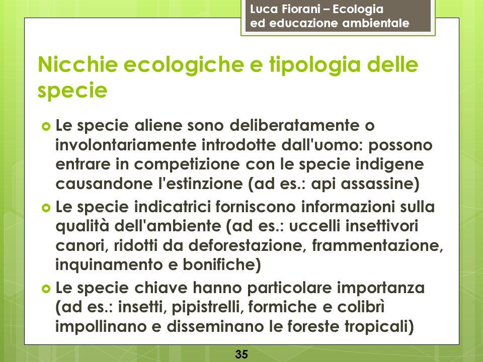 Luca Fiorani – Ecologia ed educazione ambientale Nicchie ecologiche e tipologia delle specie 35 Le specie aliene sono deliberatamente o involontariame