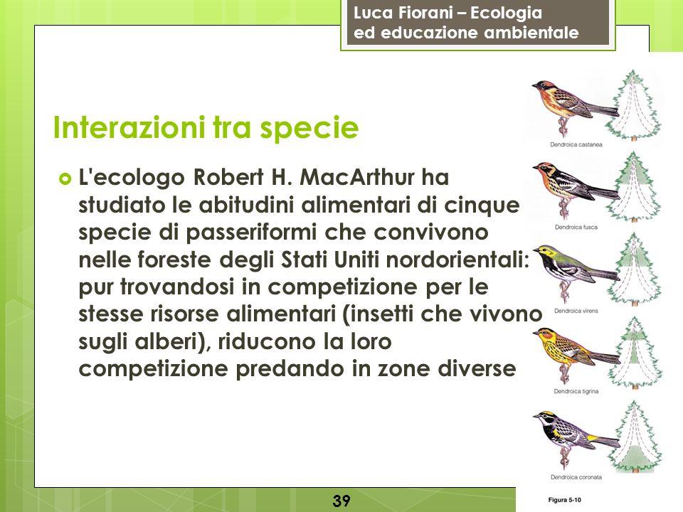 Luca Fiorani – Ecologia ed educazione ambientale Interazioni tra specie 39 L'ecologo Robert H. MacArthur ha studiato le abitudini alimentari di cinque