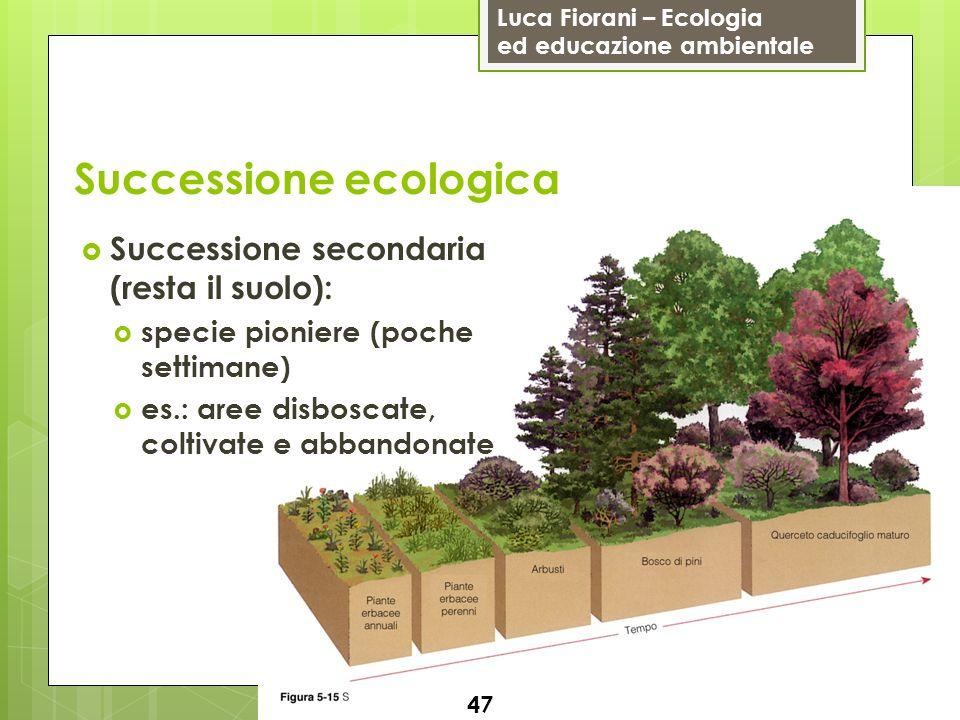 Luca Fiorani – Ecologia ed educazione ambientale Successione ecologica 48 I cambiamenti nella struttura della vegetazione (cibo e rifugio) implicano trasformazioni nella comunità animale Es.: area temperata del Nordamerica