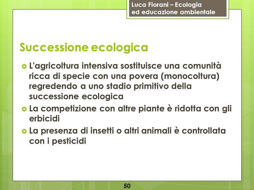 Luca Fiorani – Ecologia ed educazione ambientale Successione ecologica 50 L'agricoltura intensiva sostituisce una comunità ricca di specie con una pov