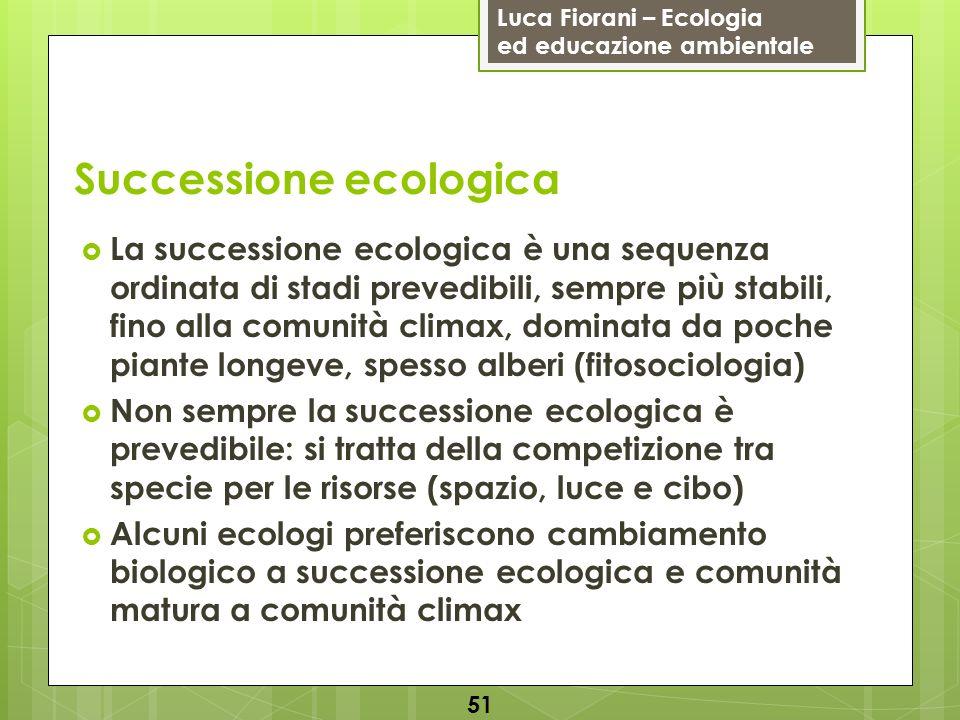 Luca Fiorani – Ecologia ed educazione ambientale Successione ecologica 51 La successione ecologica è una sequenza ordinata di stadi prevedibili, sempr