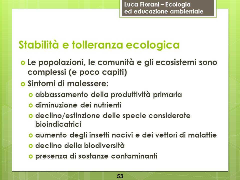 Luca Fiorani – Ecologia ed educazione ambientale Stabilità e tolleranza ecologica 54 Spesso i sistemi biologici rispondono in ritardo e l alterazione può essere irreversibile quando appare (es.: fumatore) Es.