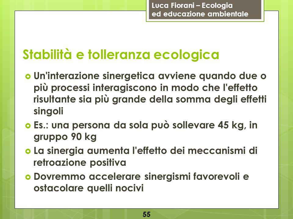 Luca Fiorani – Ecologia ed educazione ambientale Stabilità e tolleranza ecologica 55 Un'interazione sinergetica avviene quando due o più processi inte