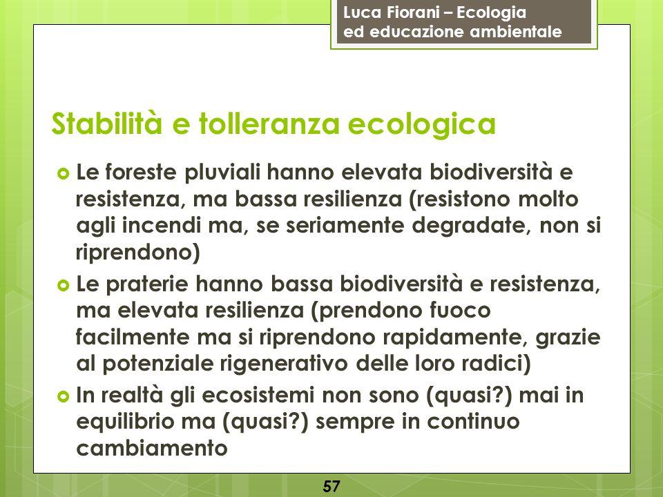 Luca Fiorani – Ecologia ed educazione ambientale Stabilità e tolleranza ecologica 57 Le foreste pluviali hanno elevata biodiversità e resistenza, ma b