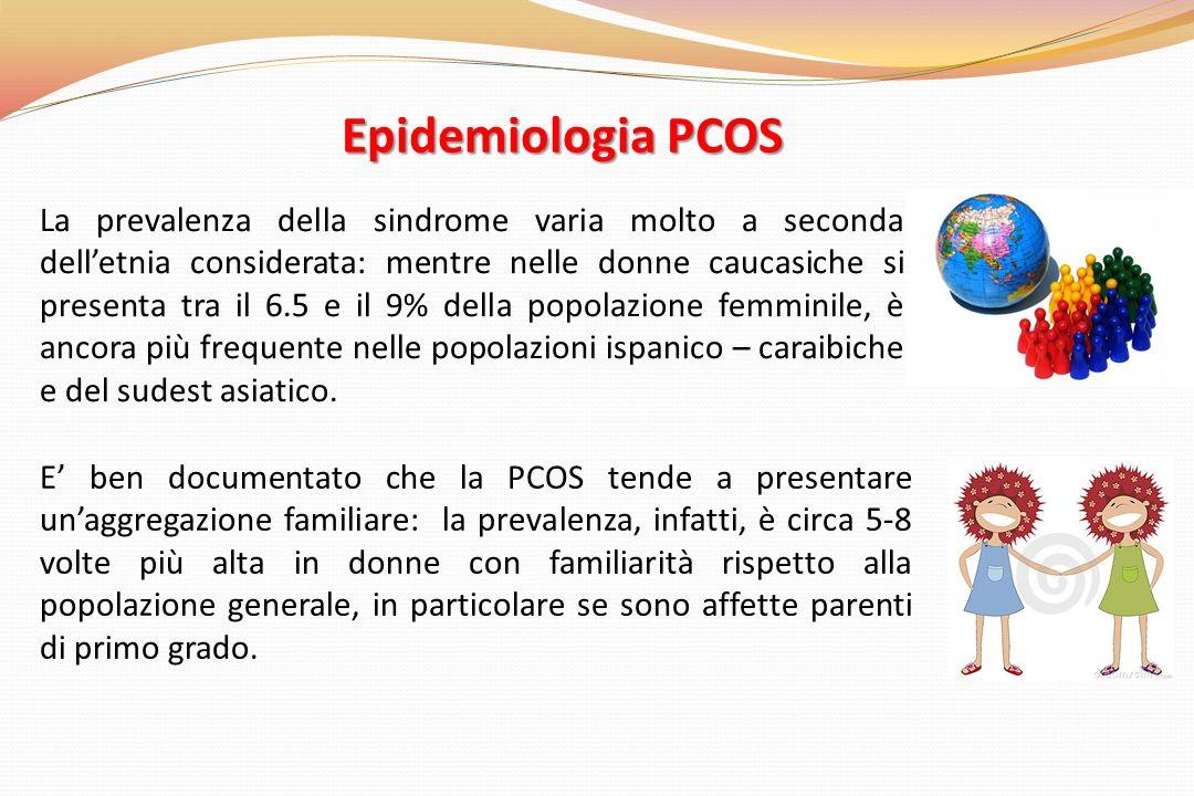 Epidemiologia PCOS La prevalenza della sindrome varia molto a seconda delletnia considerata: mentre nelle donne caucasiche si presenta tra il 6.5 e il 9% della popolazione femminile, è ancora più frequente nelle popolazioni ispanico – caraibiche e del sudest asiatico.