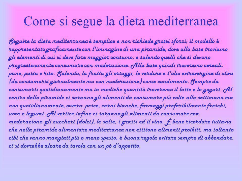 Come si segue la dieta mediterranea Seguire la dieta mediterranea è semplice e non richiede grossi sforzi; il modello è rappresentato graficamente con