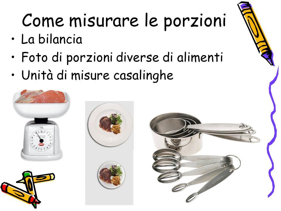Come misurare le porzioni La bilancia Foto di porzioni diverse di alimenti Unità di misure casalinghe