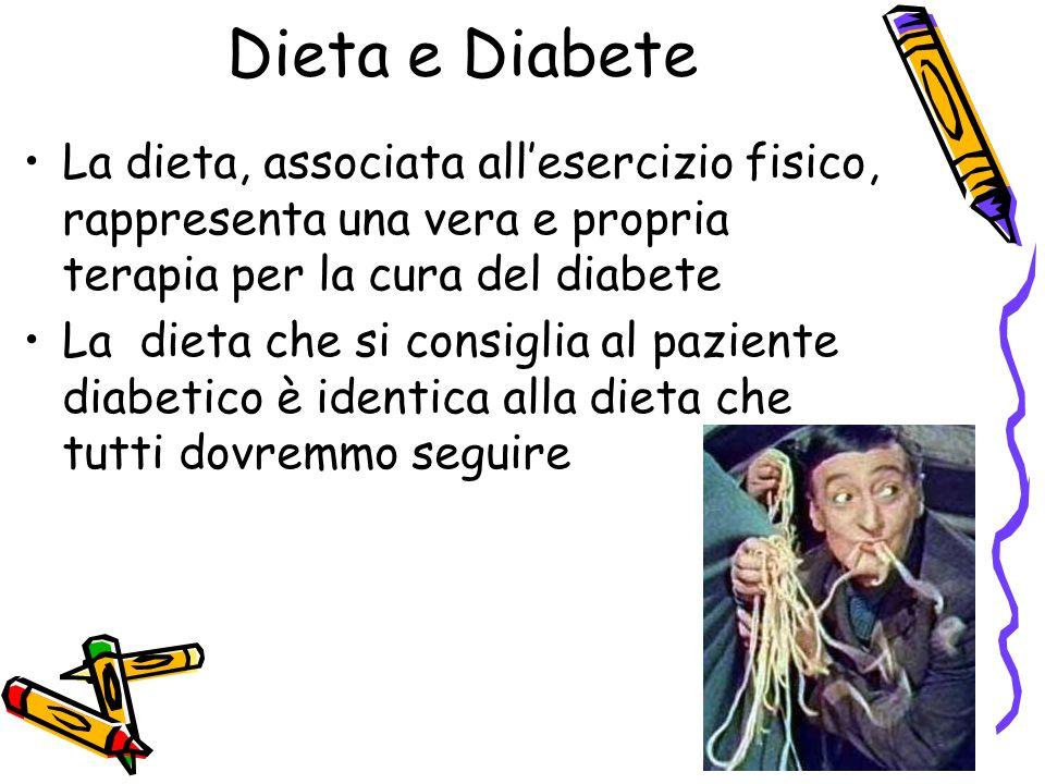 La dieta, associata allesercizio fisico, rappresenta una vera e propria terapia per la cura del diabete La dieta che si consiglia al paziente diabetic