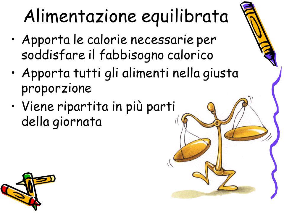 Alimentazione equilibrata Apporta le calorie necessarie per soddisfare il fabbisogno calorico Apporta tutti gli alimenti nella giusta proporzione Viene ripartita in più parti della giornata
