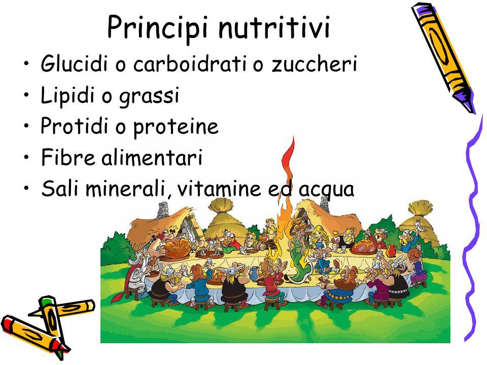 Principi nutritivi Glucidi o carboidrati o zuccheri Lipidi o grassi Protidi o proteine Fibre alimentari Sali minerali, vitamine ed acqua
