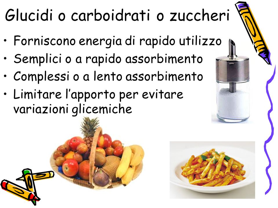 Glucidi o carboidrati o zuccheri Forniscono energia di rapido utilizzo Semplici o a rapido assorbimento Complessi o a lento assorbimento Limitare lapporto per evitare variazioni glicemiche