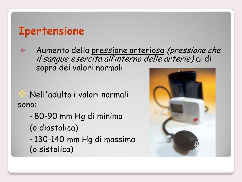 Ipertensione Aumento della pressione arteriosa (pressione che il sangue esercita allinterno delle arterie) al di sopra dei valori normali Nell'adulto
