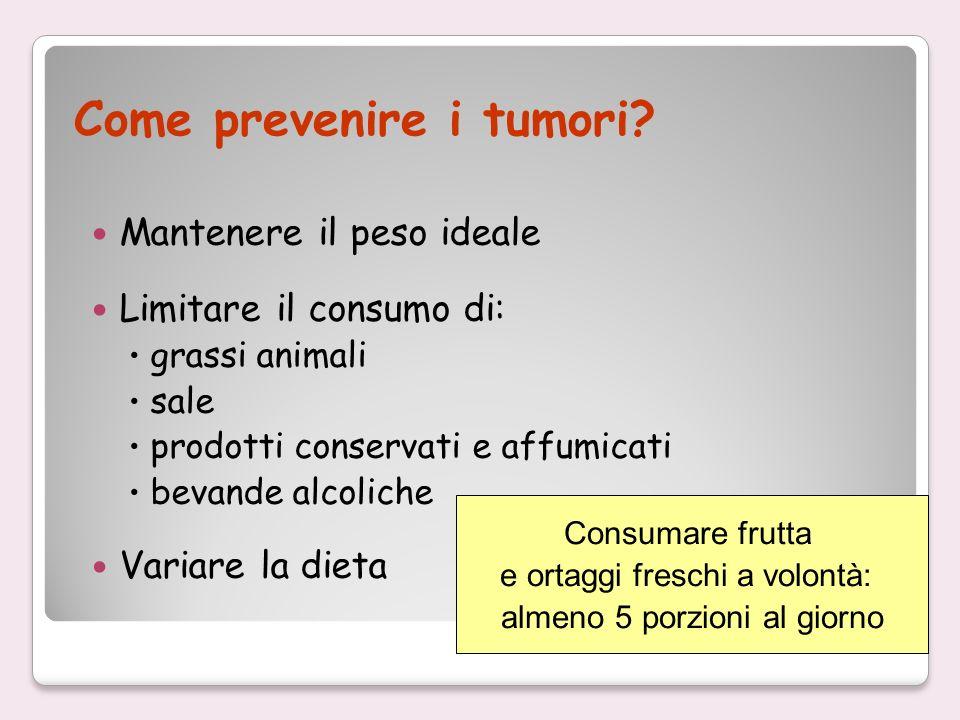 Come prevenire i tumori? Mantenere il peso ideale Limitare il consumo di: grassi animali sale prodotti conservati e affumicati bevande alcoliche Varia