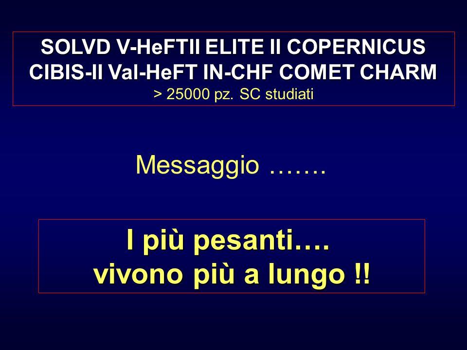 Messaggio ……. I più pesanti…. vivono più a lungo !! SOLVD V-HeFTII ELITE II COPERNICUS CIBIS-II Val-HeFT IN-CHF COMET CHARM > 25000 pz. SC studiati