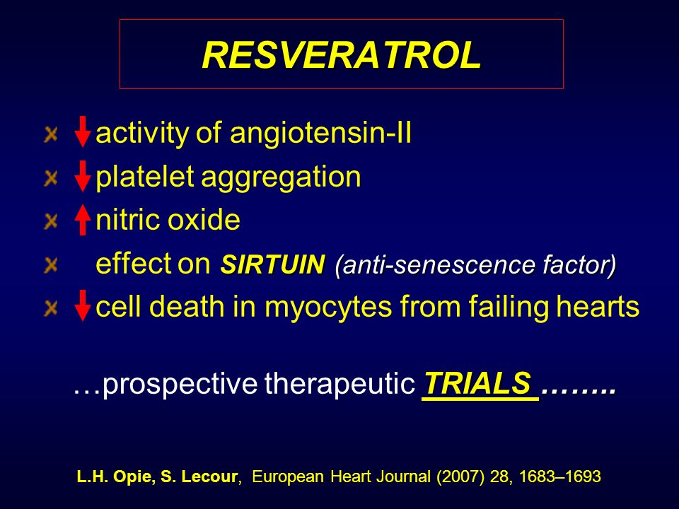 RESVERATROL activity of angiotensin-II platelet aggregation nitric oxide SIRTUIN(anti-senescence factor) effect on SIRTUIN (anti-senescence factor) ce