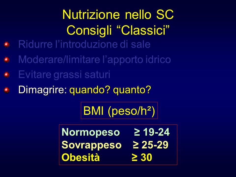 Nutrizione nello SC Consigli Classici Ridurre lintroduzione di sale Moderare/limitare lapporto idrico Evitare grassi saturi Dimagrire:quando? quanto?