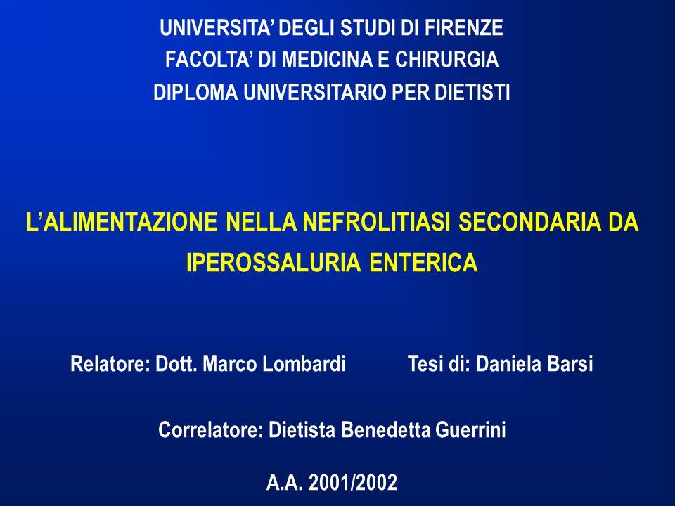 UNIVERSITA DEGLI STUDI DI FIRENZE FACOLTA DI MEDICINA E CHIRURGIA DIPLOMA UNIVERSITARIO PER DIETISTI LALIMENTAZIONE NELLA NEFROLITIASI SECONDARIA DA IPEROSSALURIA ENTERICA Relatore: Dott.
