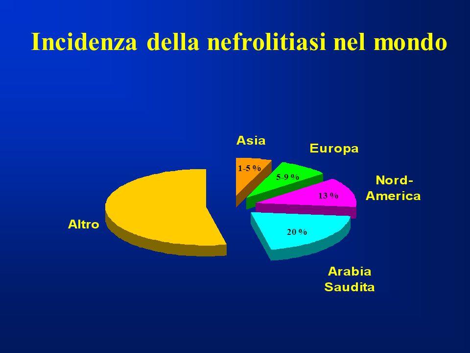 Incidenza della nefrolitiasi nel mondo 1-5 % 5-9 % 13 % 20 %