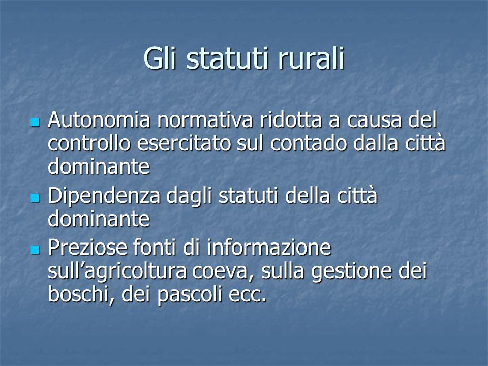 Gli statuti rurali Autonomia normativa ridotta a causa del controllo esercitato sul contado dalla città dominante Autonomia normativa ridotta a causa
