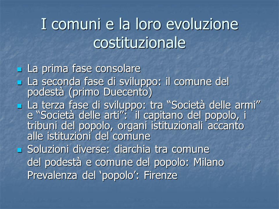 I comuni e la loro evoluzione costituzionale La prima fase consolare La prima fase consolare La seconda fase di sviluppo: il comune del podestà (primo
