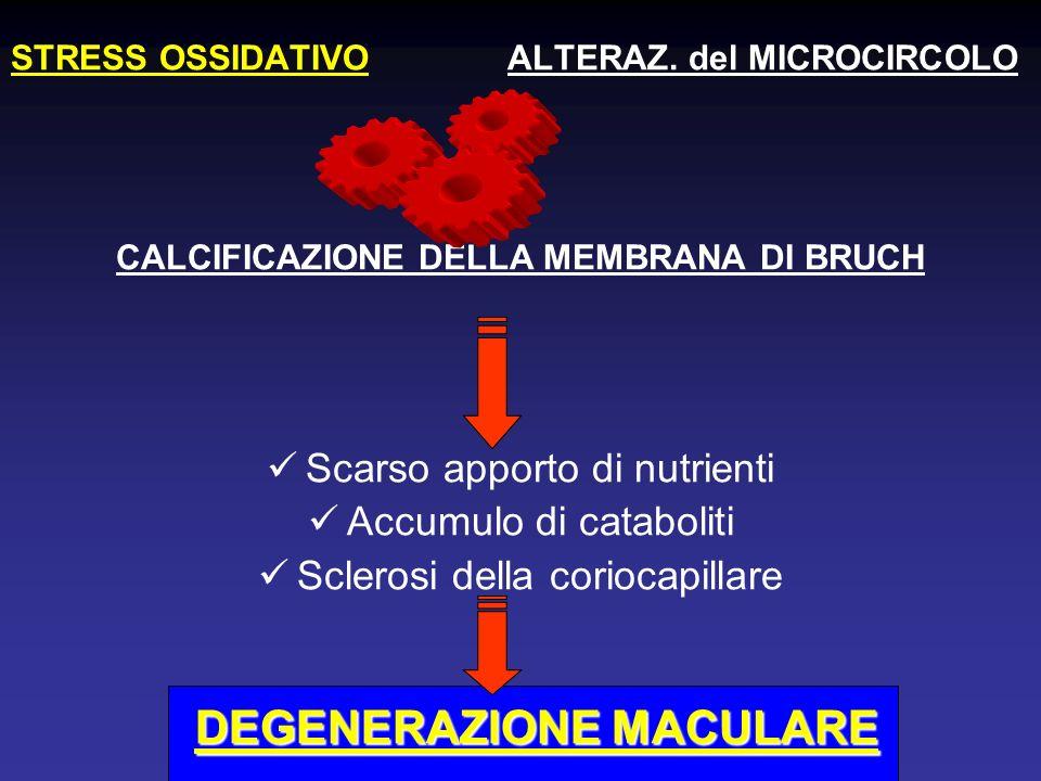 STRESS OSSIDATIVO ALTERAZ. del MICROCIRCOLO CALCIFICAZIONE DELLA MEMBRANA DI BRUCH Scarso apporto di nutrienti Accumulo di cataboliti Sclerosi della c