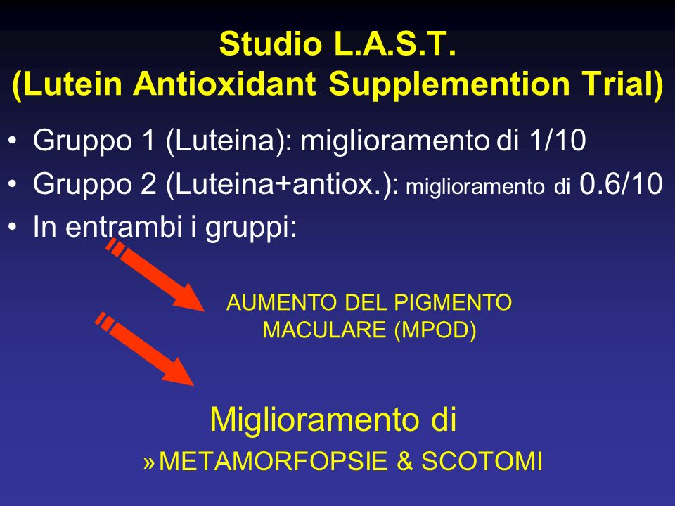 Gruppo 1 (Luteina): miglioramento di 1/10 Gruppo 2 (Luteina+antiox.): miglioramento di 0.6/10 In entrambi i gruppi: Miglioramento di »METAMORFOPSIE &