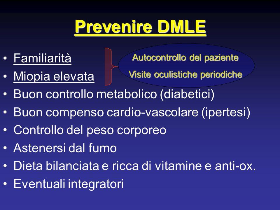 Prevenire DMLE Familiarità Miopia elevata Buon controllo metabolico (diabetici) Buon compenso cardio-vascolare (ipertesi) Controllo del peso corporeo