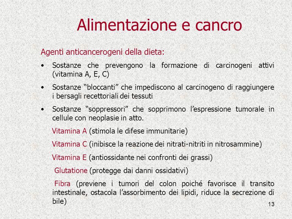 13 Alimentazione e cancro Agenti anticancerogeni della dieta: Sostanze che prevengono la formazione di carcinogeni attivi (vitamina A, E, C) Sostanze