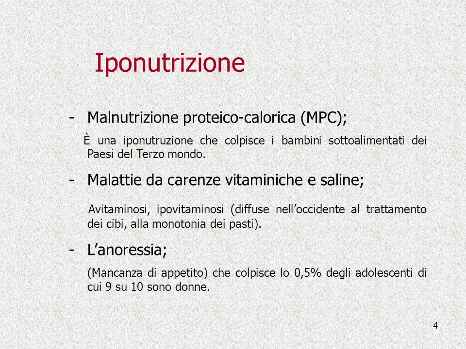 4 Iponutrizione -Malnutrizione proteico-calorica (MPC); È una iponutruzione che colpisce i bambini sottoalimentati dei Paesi del Terzo mondo. -Malatti