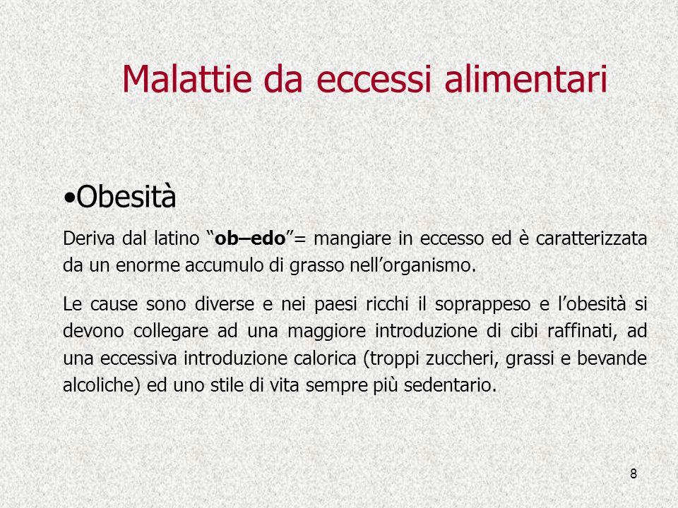 8 Malattie da eccessi alimentari Obesità Deriva dal latino ob–edo= mangiare in eccesso ed è caratterizzata da un enorme accumulo di grasso nellorganis