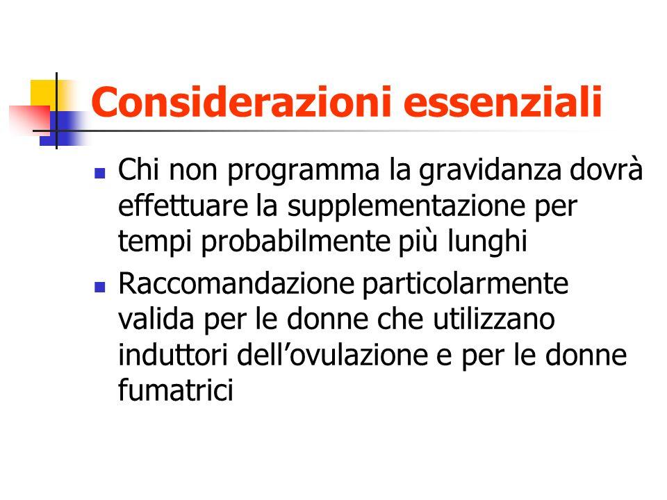 Considerazioni essenziali Chi non programma la gravidanza dovrà effettuare la supplementazione per tempi probabilmente più lunghi Raccomandazione part