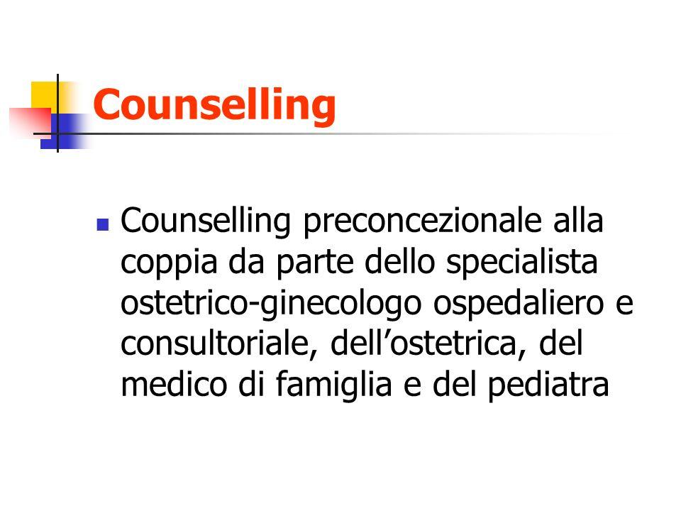 Counselling Counselling preconcezionale alla coppia da parte dello specialista ostetrico-ginecologo ospedaliero e consultoriale, dellostetrica, del me