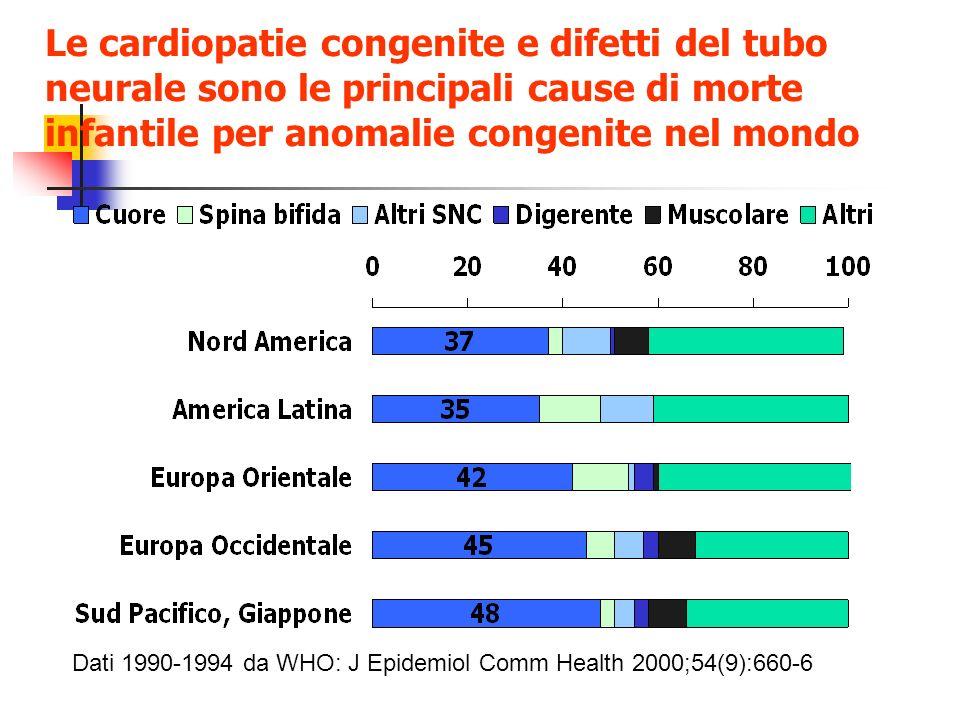 Le cardiopatie congenite e difetti del tubo neurale sono le principali cause di morte infantile per anomalie congenite nel mondo Dati 1990-1994 da WHO