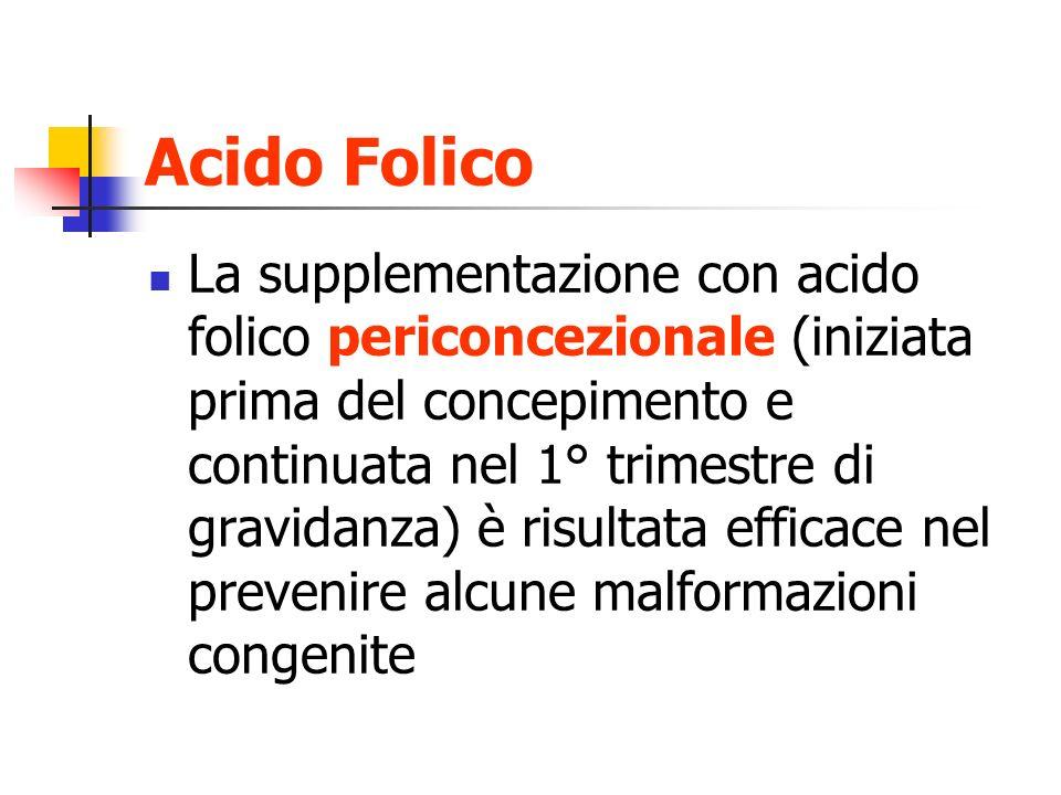 Acido Folico La supplementazione con acido folico periconcezionale (iniziata prima del concepimento e continuata nel 1° trimestre di gravidanza) è ris